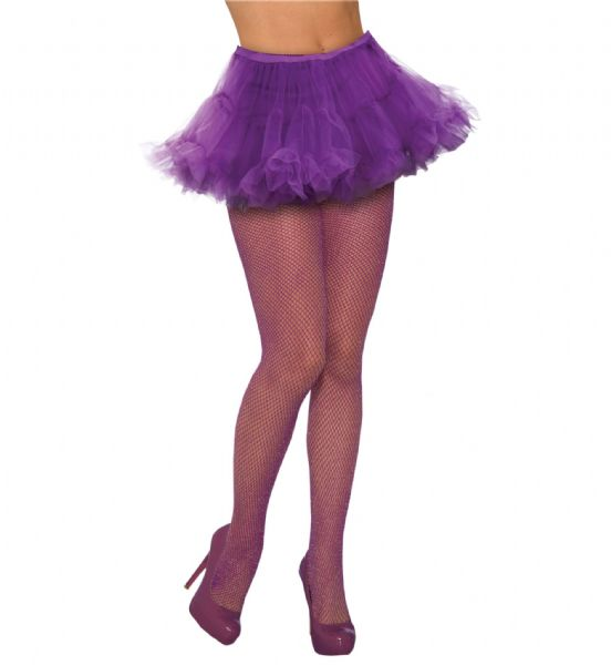 Ladies Fishnet Stockings Glitter Purple